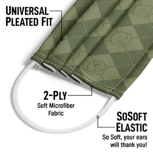 Popeye Argyle Pattern Adult Universal Pleated Fit, 2-Ply, SoSoft Elastic Earloops