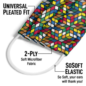 Rubik's Geometric Cube Pattern Adult Universal Pleated Fit, 2-Ply, SoSoft Elastic Earloops