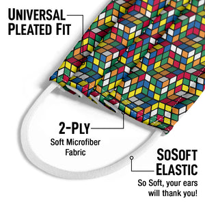 Rubik's Geometric Cube Pattern Kids Universal Pleated Fit, 2-Ply, SoSoft Elastic Earloops
