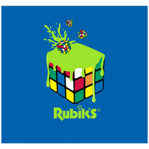 Rubik's Lime Green Paint Splash Cube Adult Mask Design Full View