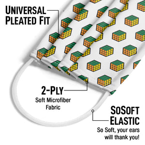 Rubik's Green, Orange and Yellow Cube Pattern Adult Universal Pleated Fit, 2-Ply, SoSoft Elastic Earloops