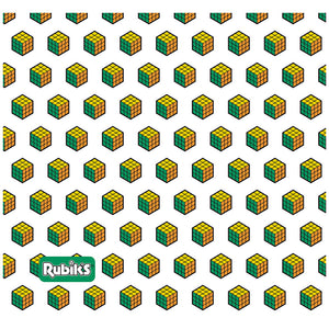 Rubik's Green, Orange and Yellow Cube Pattern Adult Mask Design Full View