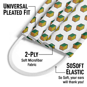 Rubik's Green, Orange and Yellow Cube Pattern Kids Universal Pleated Fit, 2-Ply, SoSoft Elastic Earloops
