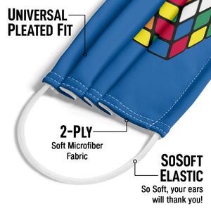 Rubik's Cube Blue Adult Universal Pleated Fit, 2-Ply, SoSoft Elastic Earloops