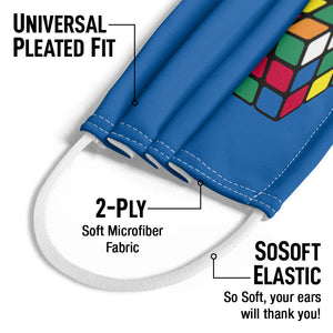 Rubik's Cube Blue Kids Universal Pleated Fit, 2-Ply, SoSoft Elastic Earloops