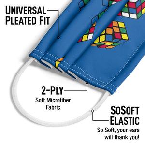 Rubik's Rolling Cubes Blue Adult Universal Pleated Fit, 2-Ply, SoSoft Elastic Earloops