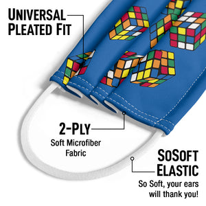 Load image into Gallery viewer, Rubik's Rolling Cubes Blue Kids Universal Pleated Fit, 2-Ply, SoSoft Elastic Earloops