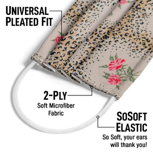 STARK Leopard Rose Adult Universal Pleated Fit, 2-Ply, SoSoft Elastic Earloops