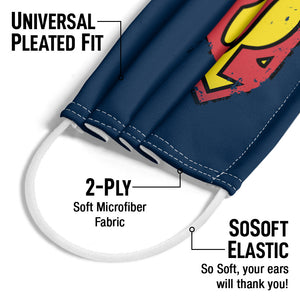 Superman Distressed Shield Logo Adult Universal Pleated Fit, 2-Ply, SoSoft Elastic Earloops