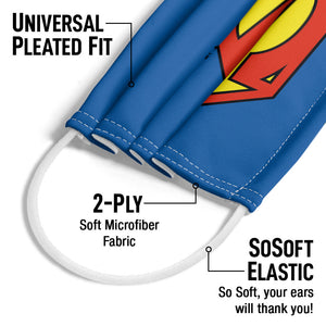 Superman New 52 Logo Shield Adult Universal Pleated Fit, 2-Ply, SoSoft Elastic Earloops