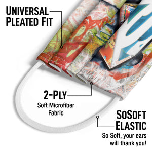 Superman Urban Shields Kids Universal Pleated Fit, 2-Ply, SoSoft Elastic Earloops