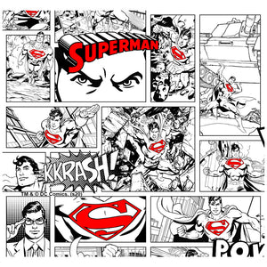 Superman Comic Panels Pattern Adult Mask Design Full View