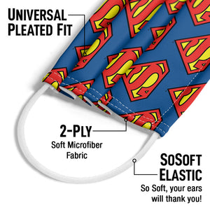 Superman Classic S Shield Logo Pattern Adult Universal Pleated Fit, 2-Ply, SoSoft Elastic Earloops