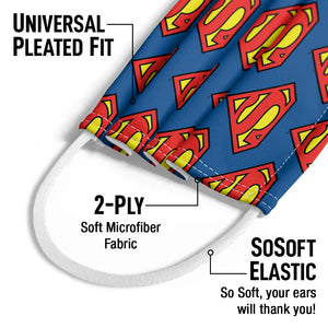 Superman Classic S Shield Logo Pattern Kids Universal Pleated Fit, 2-Ply, SoSoft Elastic Earloops
