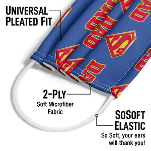 Superman Super Dad Shield Logo Pattern Adult Universal Pleated Fit, 2-Ply, SoSoft Elastic Earloops
