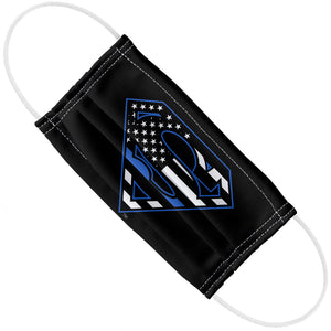 Superman Thin Blue Line Flag Shield Logo Pattern Adult Flat View