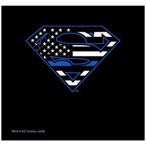 Superman Thin Blue Line Flag Shield Logo Pattern Adult Mask Design Full View