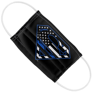 Superman Thin Blue Line Flag Shield Logo Pattern Kids Flat View