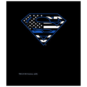 Superman Thin Blue Line Flag Shield Logo Pattern Kids Mask Design Full View