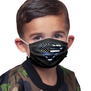 Superman Thin Blue Line Flag Shield Logo Pattern Kids Main Model View