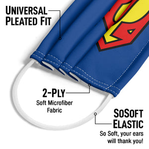 Superman Classic S Shield Logo Adult Universal Pleated Fit, 2-Ply, SoSoft Elastic Earloops