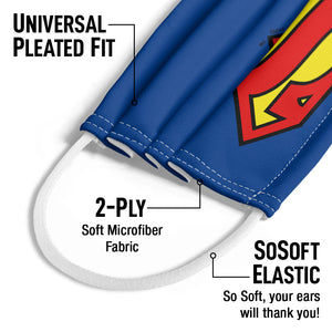 Superman Classic S Shield Logo Kids Universal Pleated Fit, 2-Ply, SoSoft Elastic Earloops