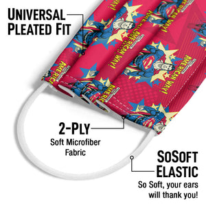 Superman The American Way Pattern Adult Universal Pleated Fit, 2-Ply, SoSoft Elastic Earloops