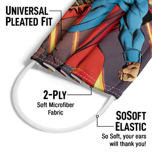 Load image into Gallery viewer, Superman Attack on Metropolis Adult Universal Pleated Fit, 2-Ply, SoSoft Elastic Earloops