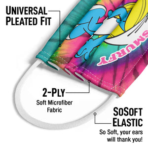 Smurfs Smurfette Feeling Smurfy Tie Dye Kids Universal Pleated Fit, 2-Ply, SoSoft Elastic Earloops