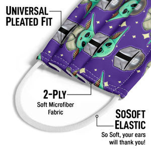 Star Wars Cute Guardian and The Child Kids Universal Pleated Fit, 2-Ply, SoSoft Elastic Earloops
