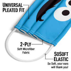 Sesame Street Cookie Monster Face Adult Universal Pleated Fit, 2-Ply, SoSoft Elastic Earloops