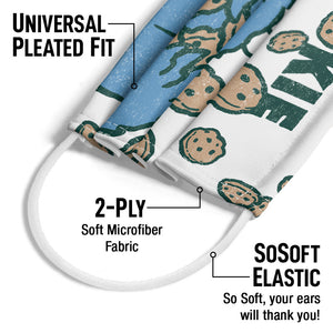 Load image into Gallery viewer, Sesame Street Cookie Crumble Adult Universal Pleated Fit, 2-Ply, SoSoft Elastic Earloops