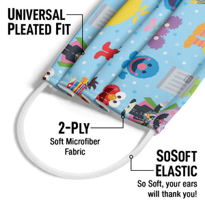 Sesame Street Cute Character Pattern Adult Universal Pleated Fit, 2-Ply, SoSoft Elastic Earloops
