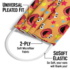 Sesame Street Elmo and Stars Pattern Adult Universal Pleated Fit, 2-Ply, SoSoft Elastic Earloops
