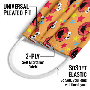 Sesame Street Elmo and Stars Pattern Kids Universal Pleated Fit, 2-Ply, SoSoft Elastic Earloops