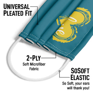 LightWorkers Love Turquoise Adult Universal Pleated Fit, 2-Ply, SoSoft Elastic Earloops