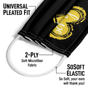 LightWorkers Black Hope Yellow Adult Universal Pleated Fit, 2-Ply, SoSoft Elastic Earloops