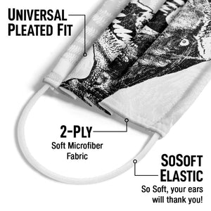 Load image into Gallery viewer, Jurassic Park T-Rex Head Adult Universal Pleated Fit, 2-Ply, SoSoft Elastic Earloops