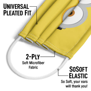 Minions Bob Face Adult Universal Pleated Fit, 2-Ply, SoSoft Elastic Earloops