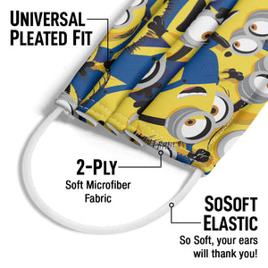 Minions Mass of Minions Adult Universal Pleated Fit, 2-Ply, SoSoft Elastic Earloops