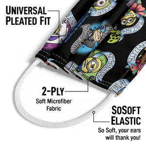 Minions Tattoo Pattern Kids Universal Pleated Fit, 2-Ply, SoSoft Elastic Earloops