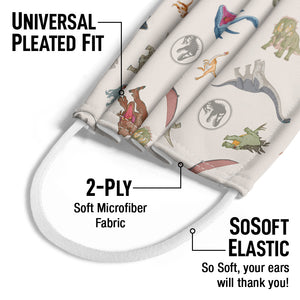 Jurassic Park Dino Pattern Kids Universal Pleated Fit, 2-Ply, SoSoft Elastic Earloops