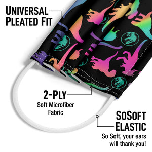 Jurassic Park Bright Dino Pattern Adult Universal Pleated Fit, 2-Ply, SoSoft Elastic Earloops