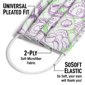 Where the Wild Things Are Scribble Adult Universal Pleated Fit, 2-Ply, SoSoft Elastic Earloops