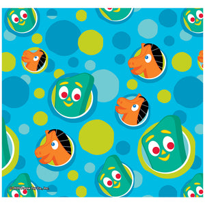 Load image into Gallery viewer, Gumby Pokey Pattern Blue Green Dots Pattern Adult Mask Design Full View