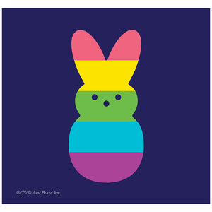Load image into Gallery viewer, Peeps Rainbow Striped Bunny Peep Adult Mask Design Full View