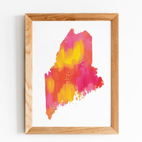 Pink Yellow Orange Gold Maine State Print by Gert & Co