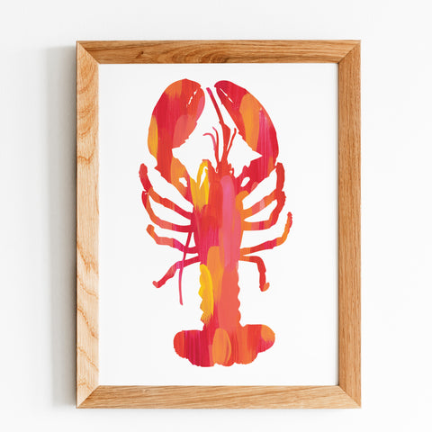 Bright Pink and Orange Lobster Print by Gert & Co