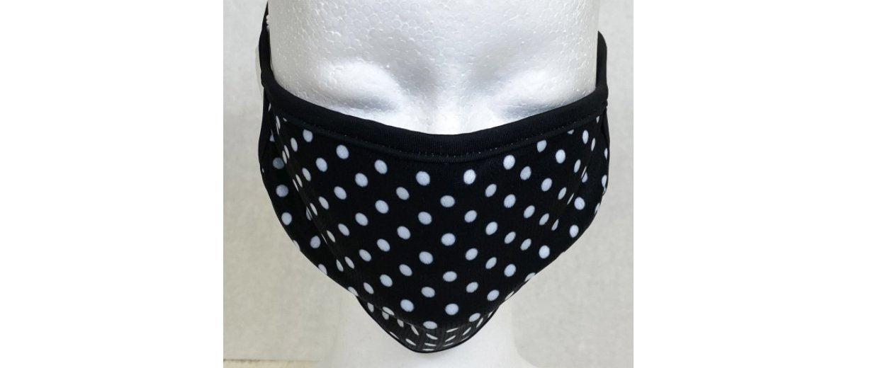 Black & White Polka Dot Quilted Face Cover with Cloth Ear Straps Cloth Face Cover BEND Active
