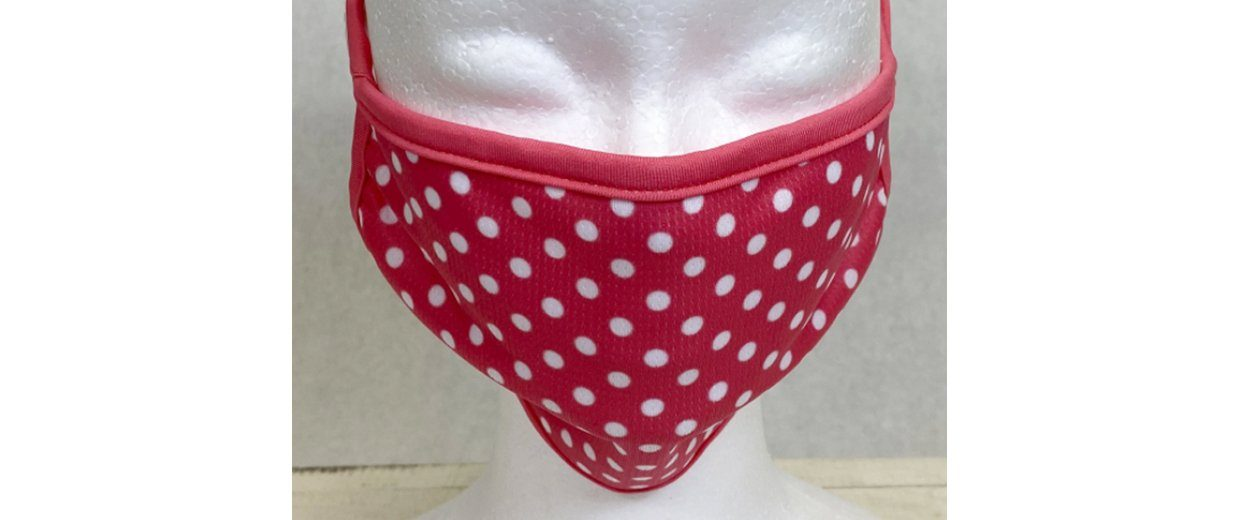 Coral Polka Dot Quilted Face Cover with Cloth Ear Straps Cloth Face Cover BEND Active